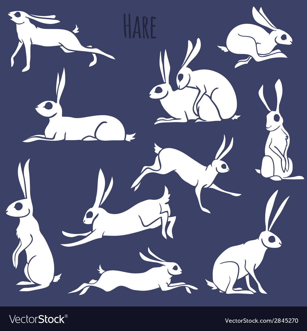 Hare silhouette set isolated on white background vector