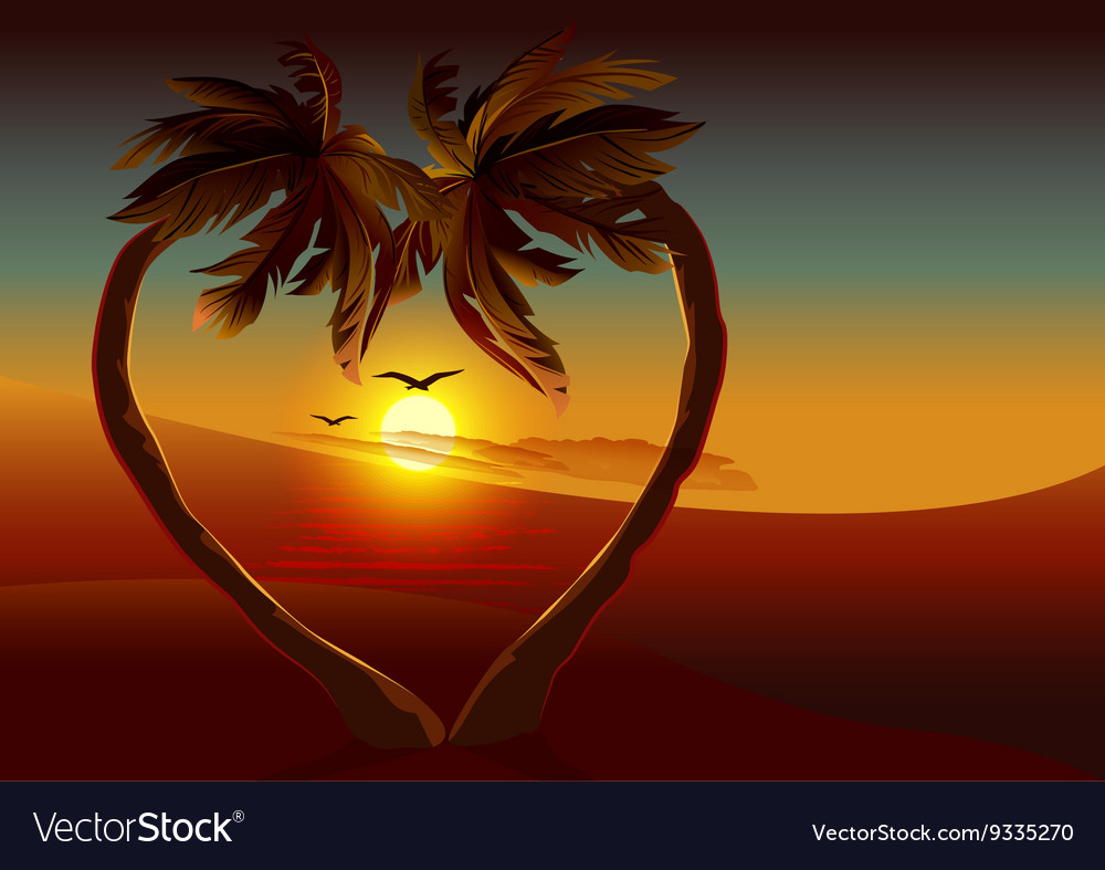 Night tropical island two palm tree in shape of vector