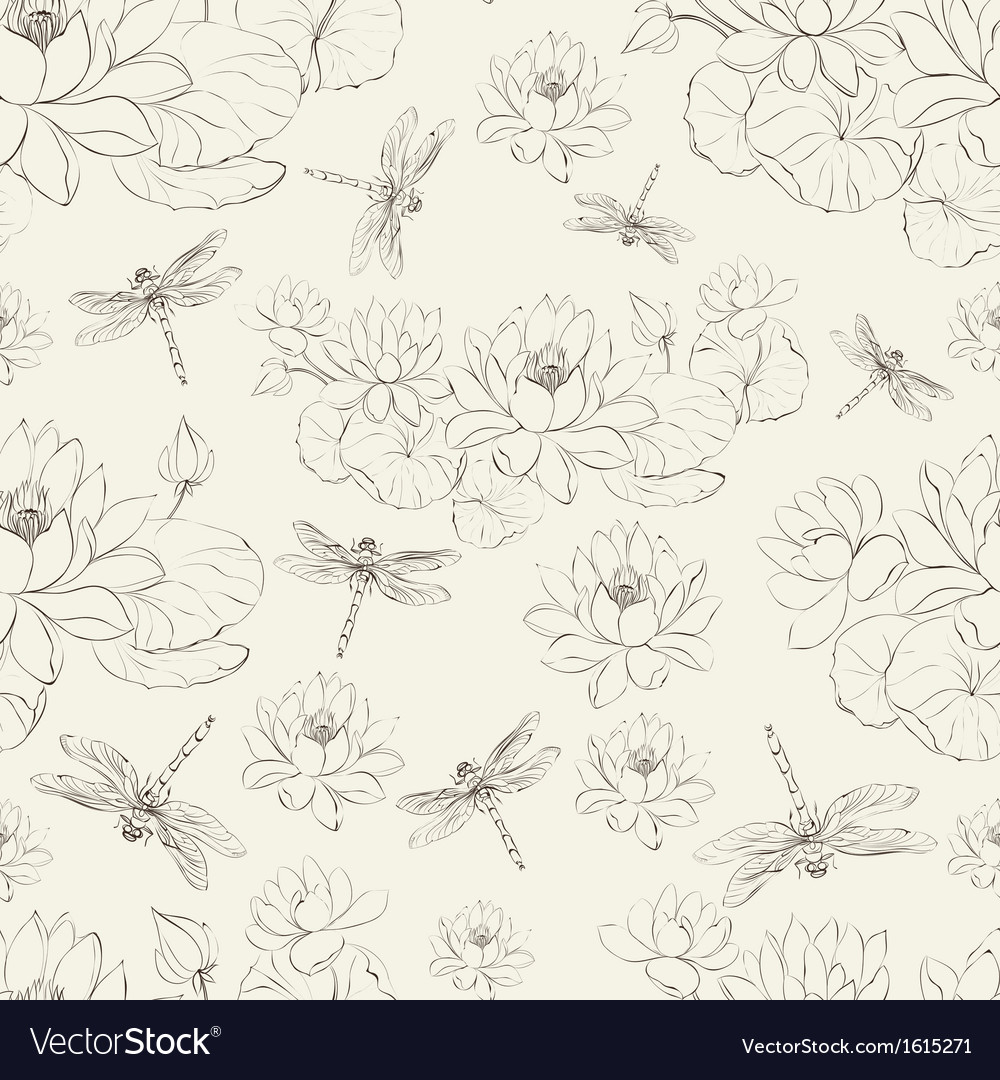 Seamless pattern lotus flower and dragonfly vector