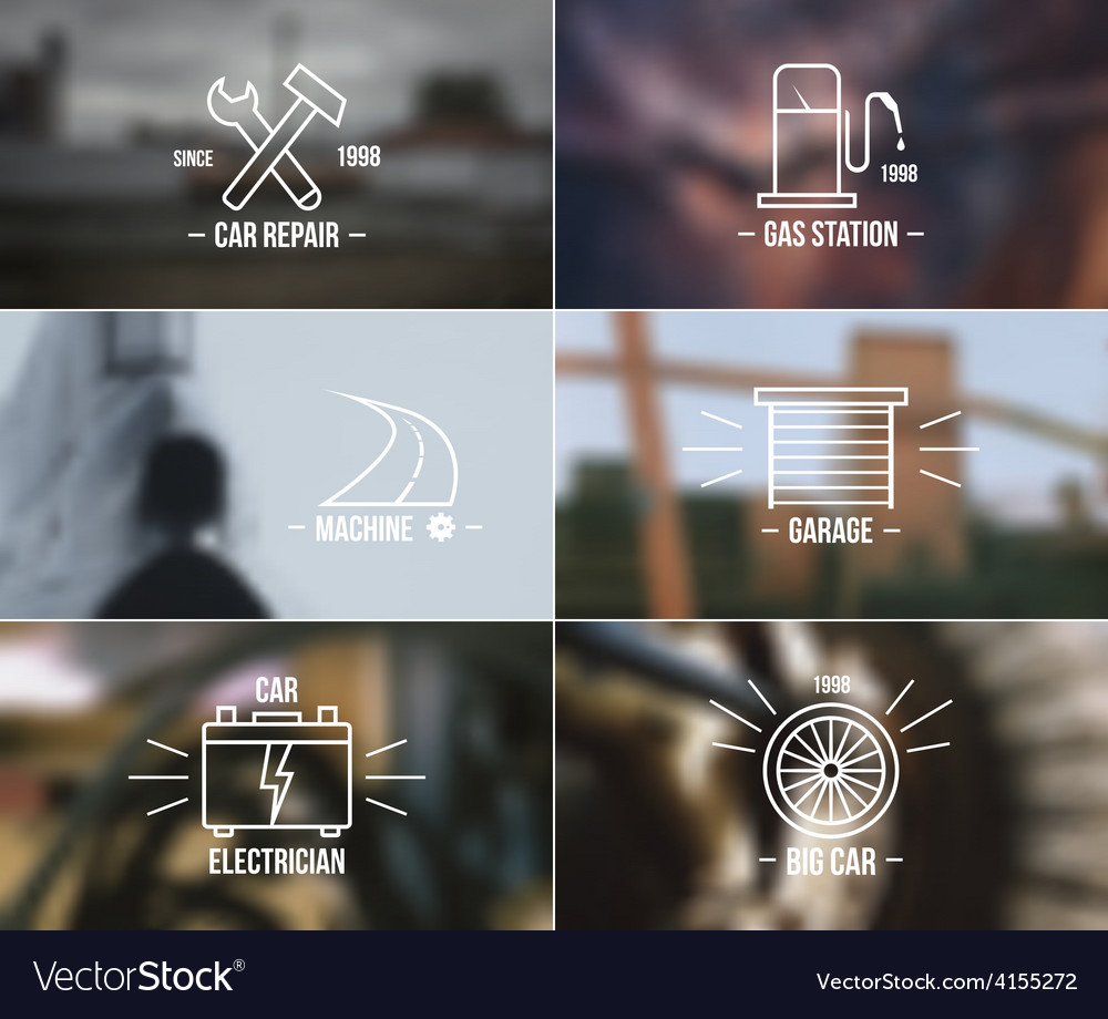 Auto service badges on a blurred backgrounds vector
