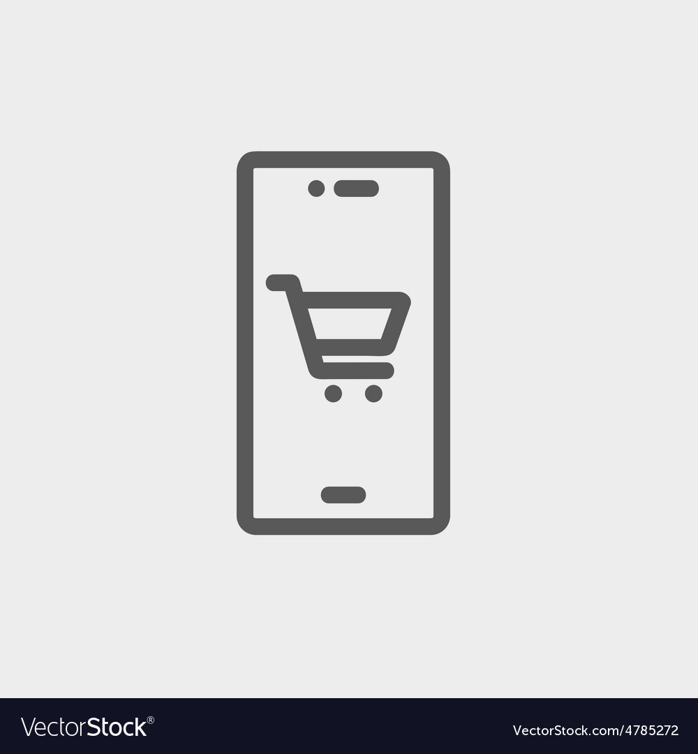 Map and location of shopping cart thin line icon vector