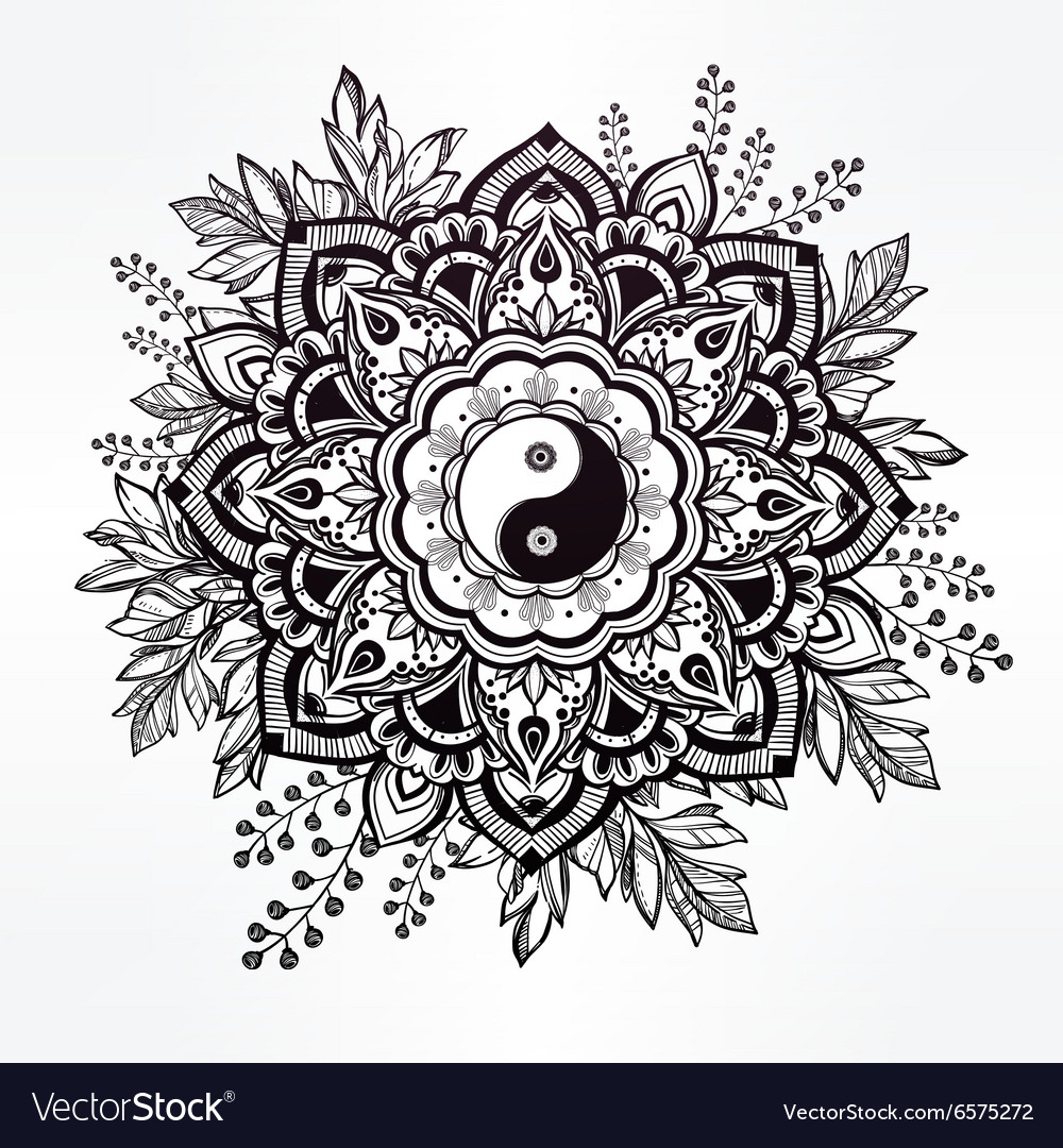Ornate flower with yin and yang symbol vector