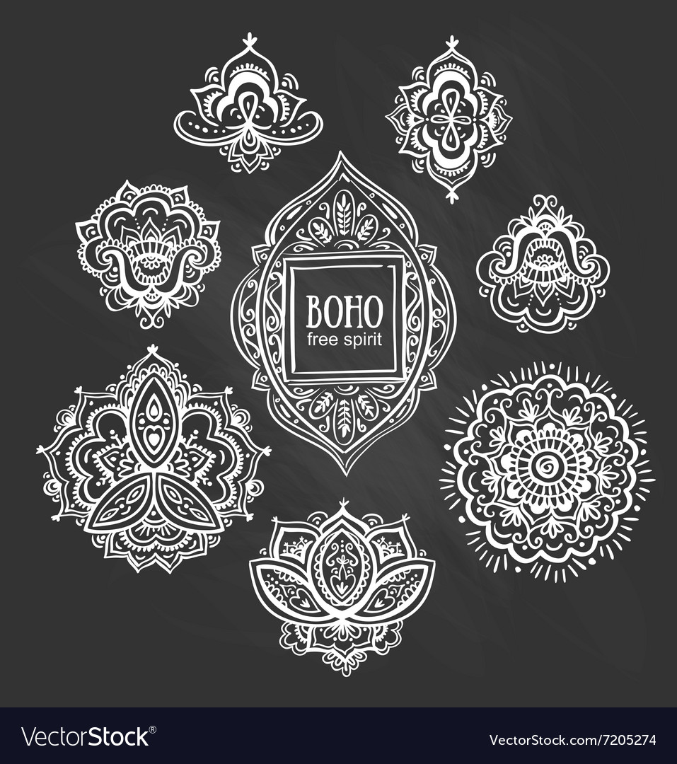 Beautiful indian floral ornaments on chalkboard vector