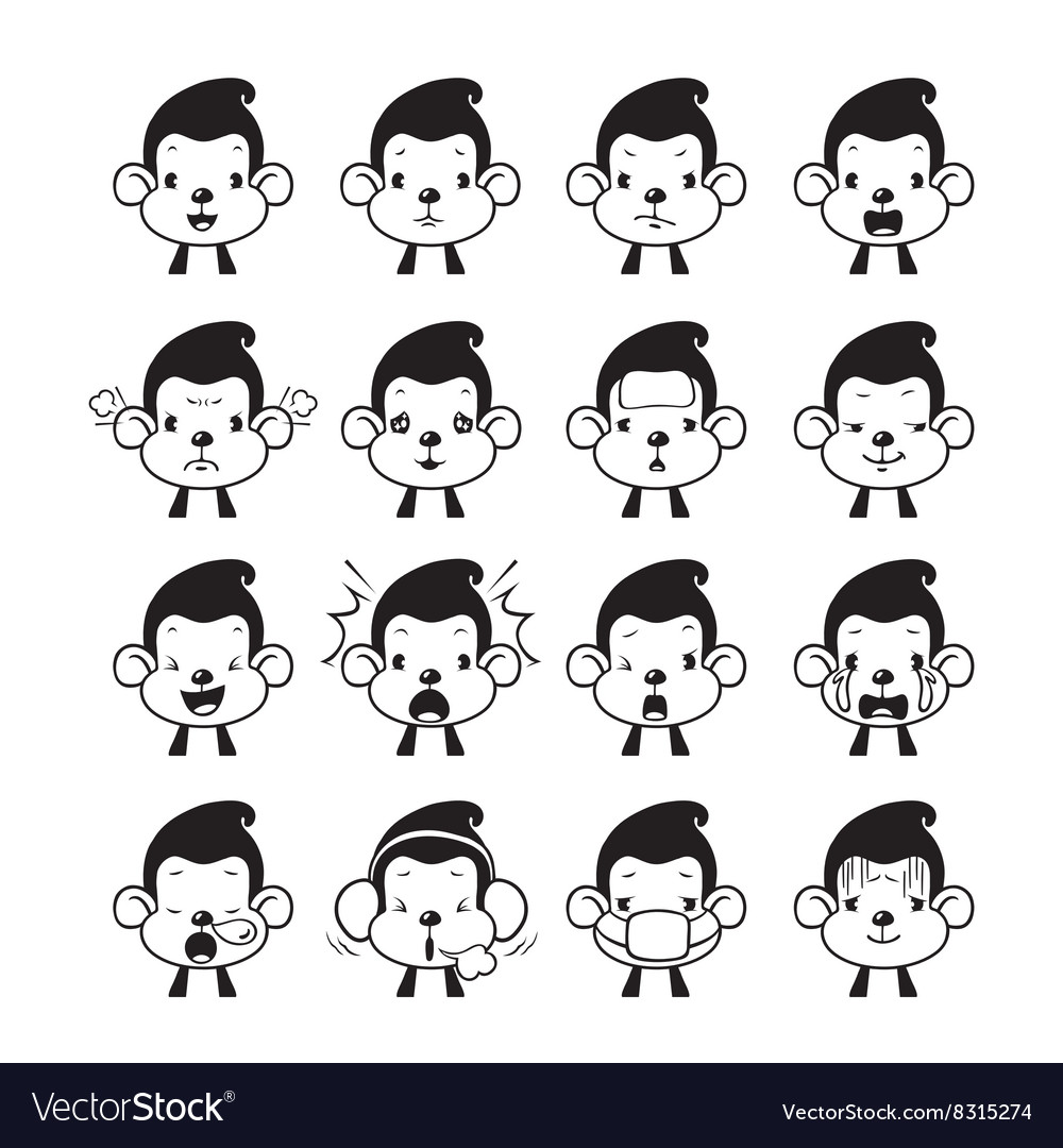 Monkey emoticons set monochrome vector