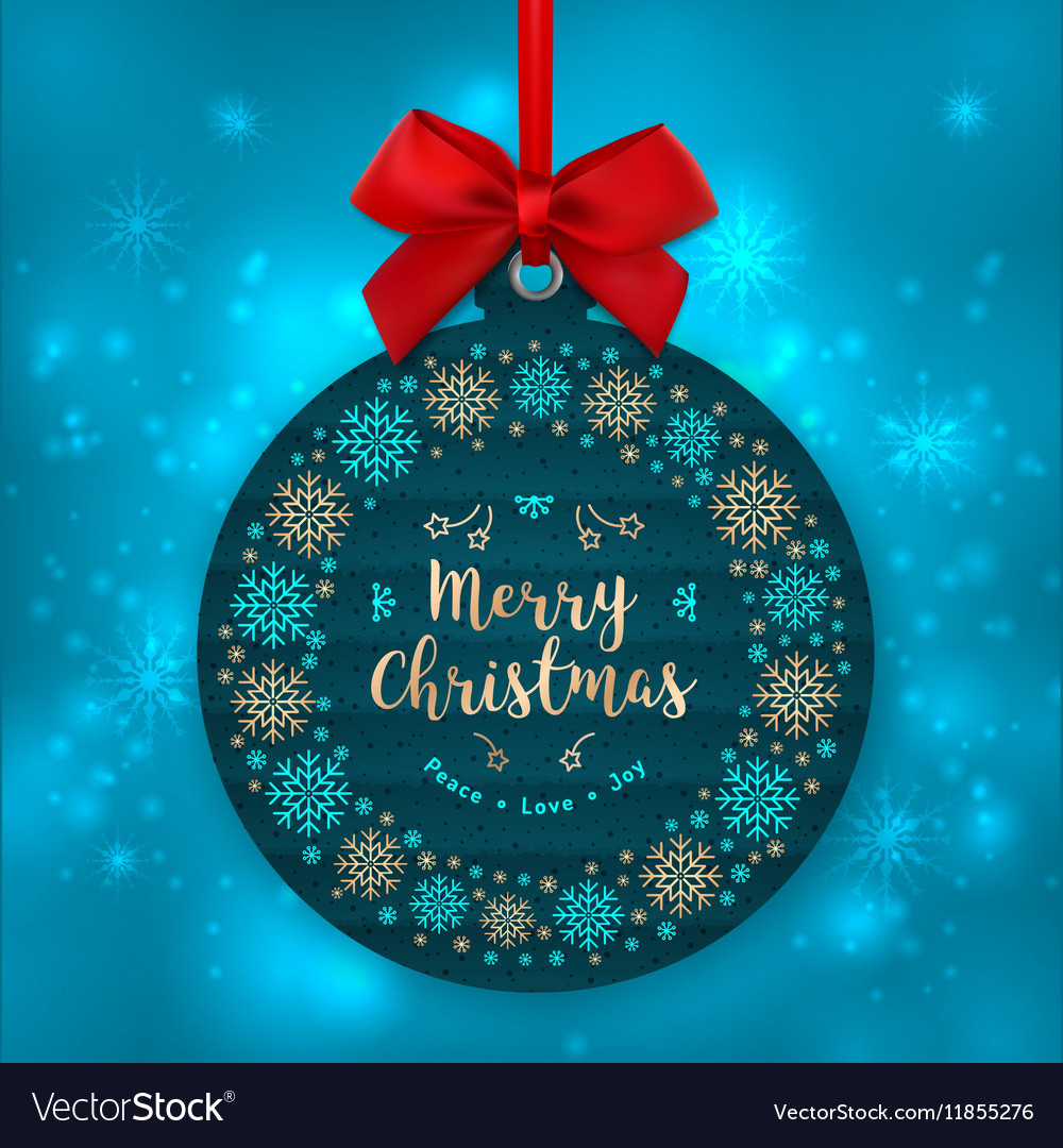 Christmas card tree decoration happy holiday vector