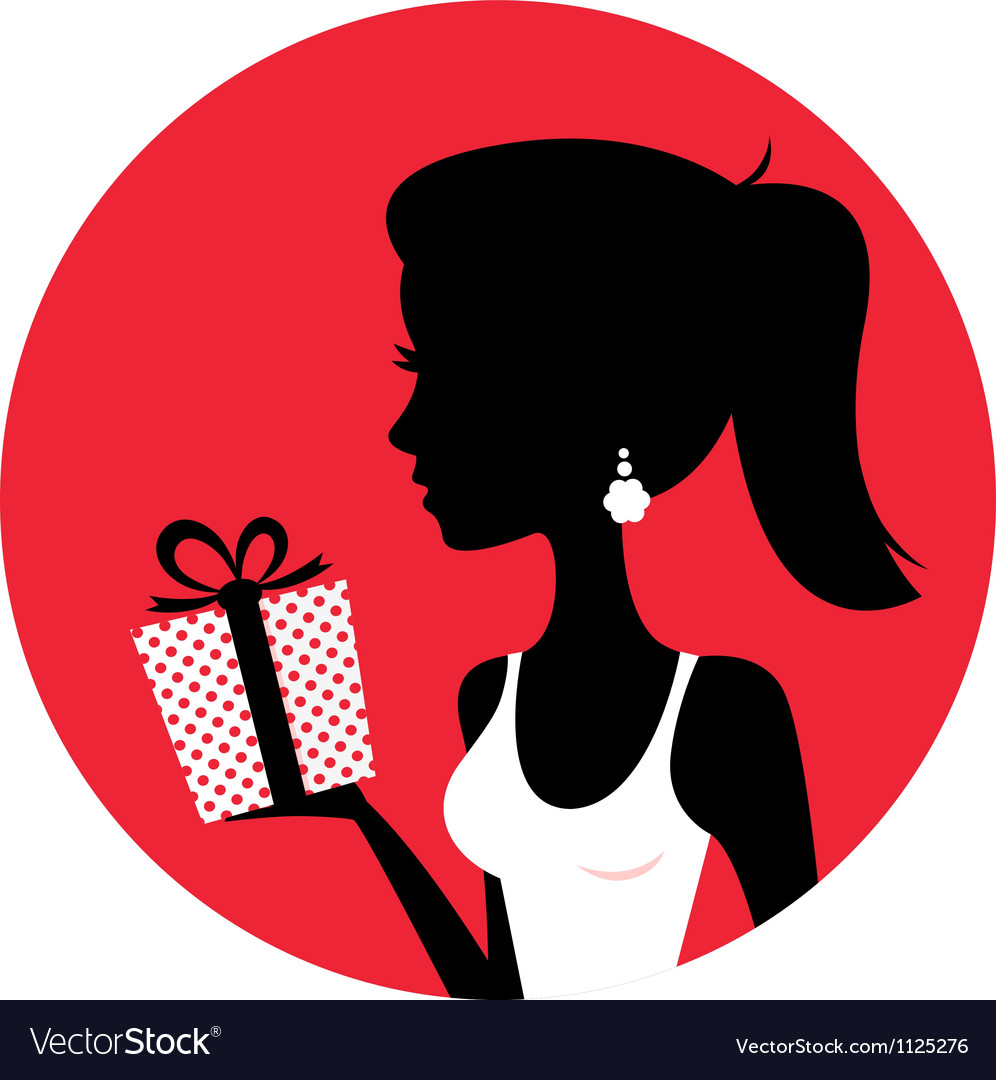Silhouette of beautiful woman holding present vector