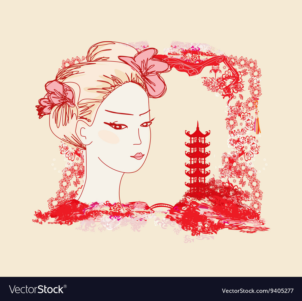 Abstract landscape with asian girl vector