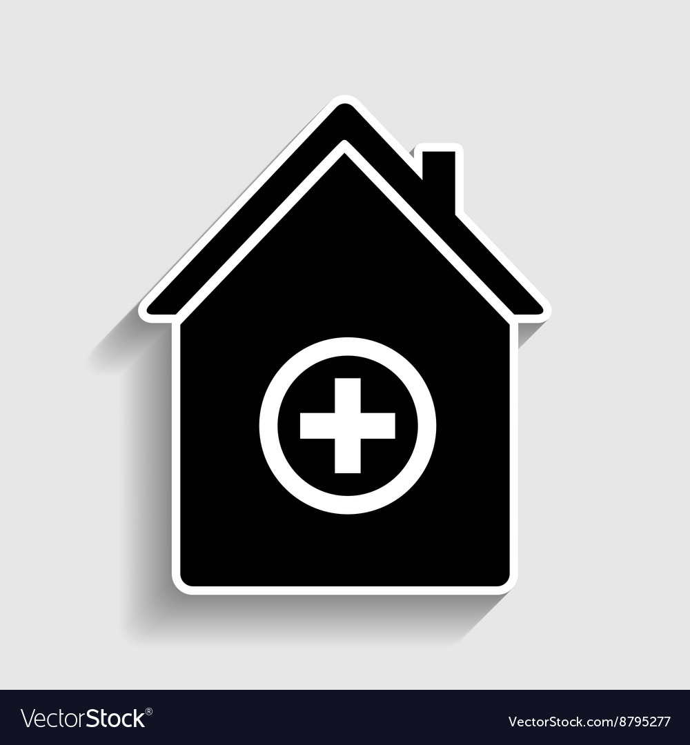 Hospital sign sticker style icon vector