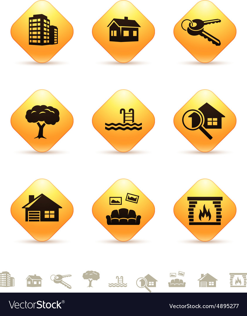 Real estate icons on yellow rhombic buttons vector