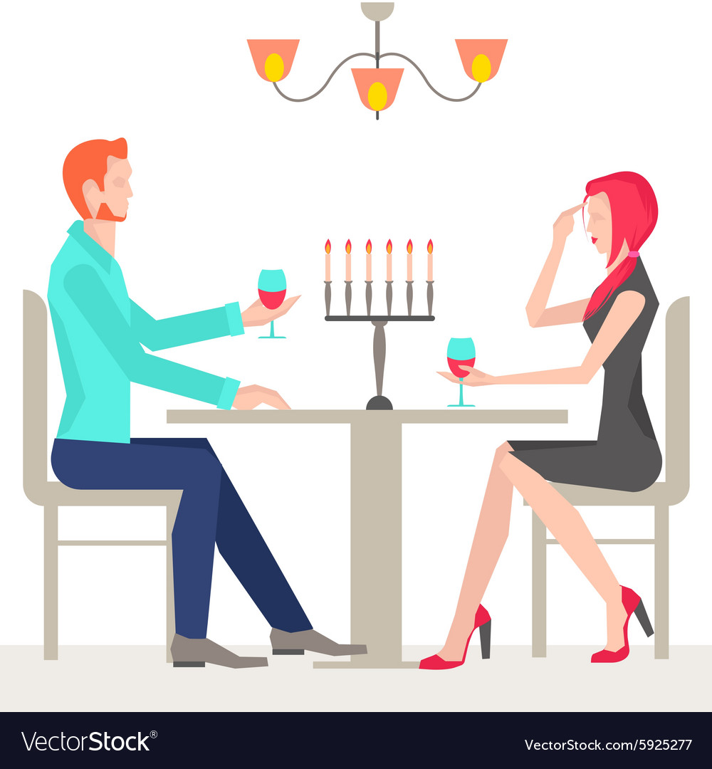 Romantic date couples in love vector