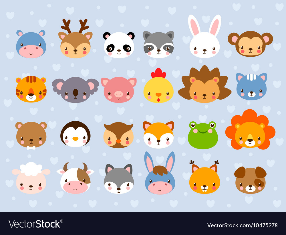 Big set with animal faces vector