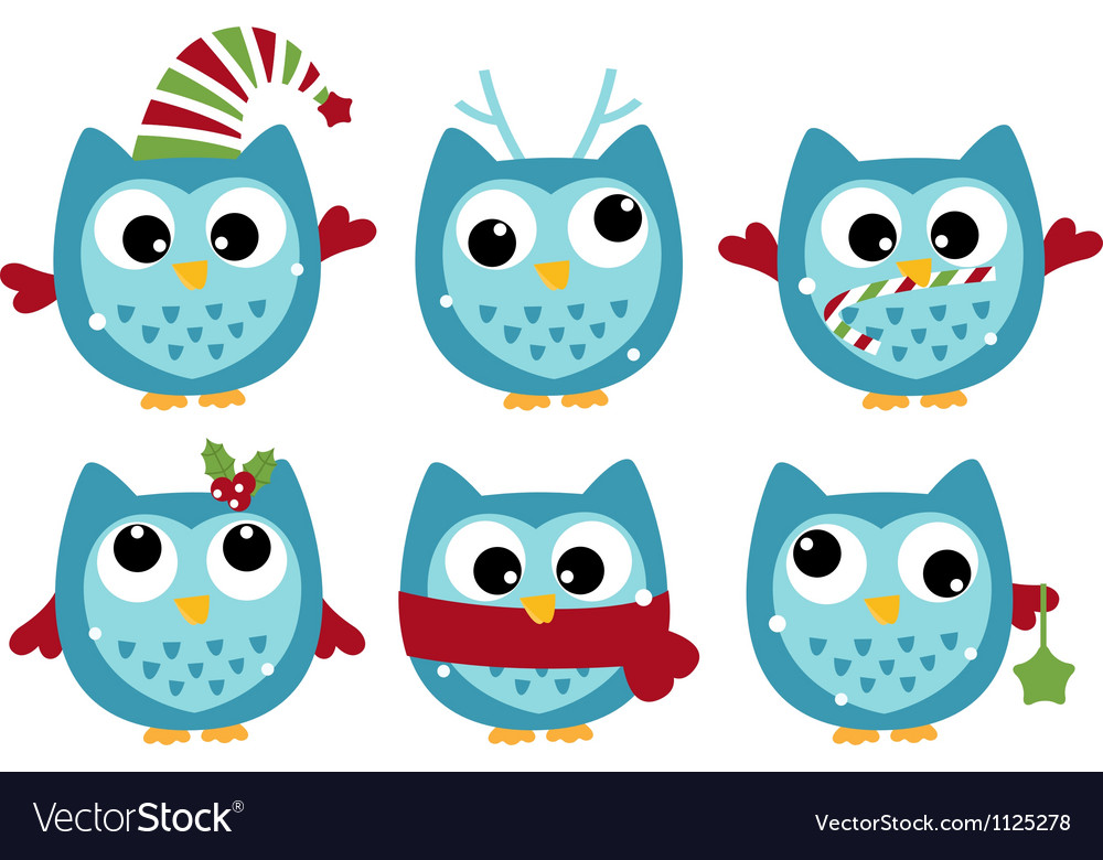 Cute winter owl collection isolated on white vector