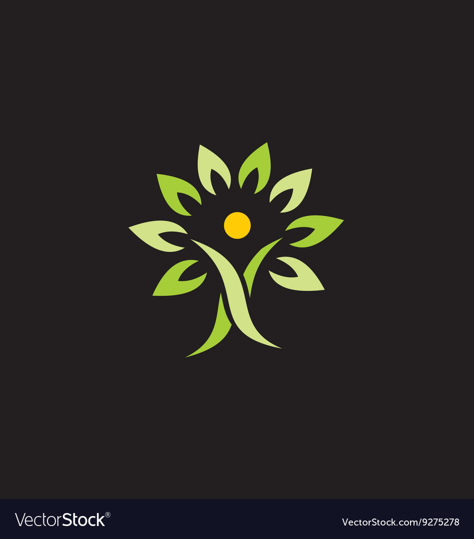 People green tree organic logo vector