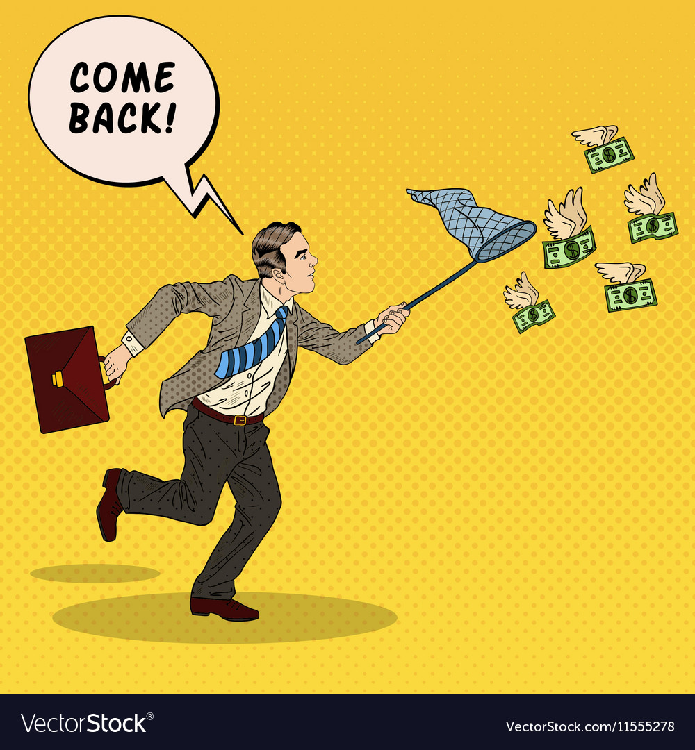 Pop art businessman catching flying money vector
