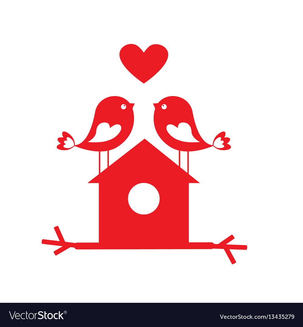 Cute birds in love and birdhouse vector