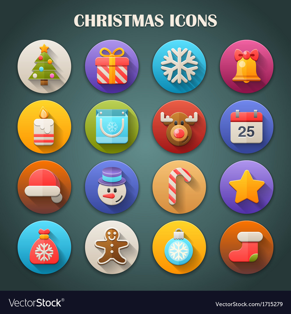 Round bright icons with long shadow  christmas vector