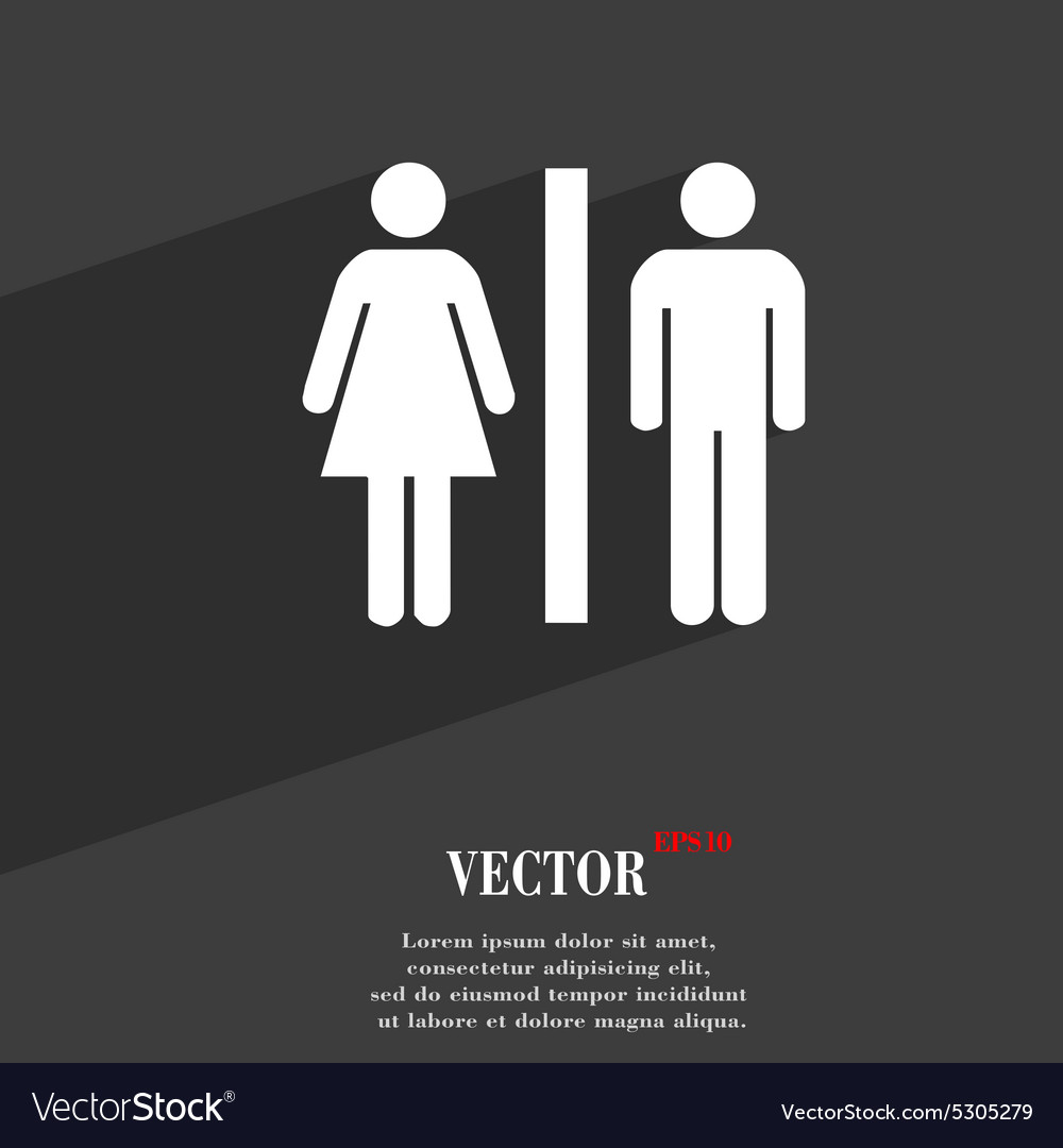 Silhouette of a man and a woman icon symbol flat vector