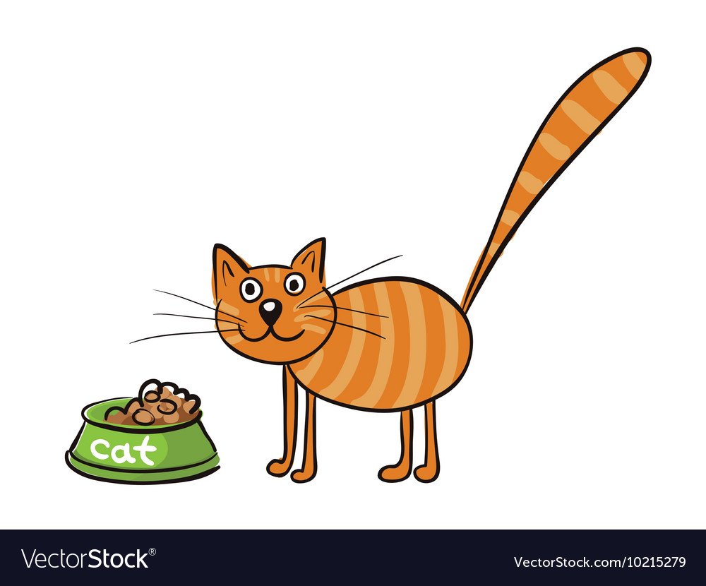 Striped red cat with a bowl of food vector