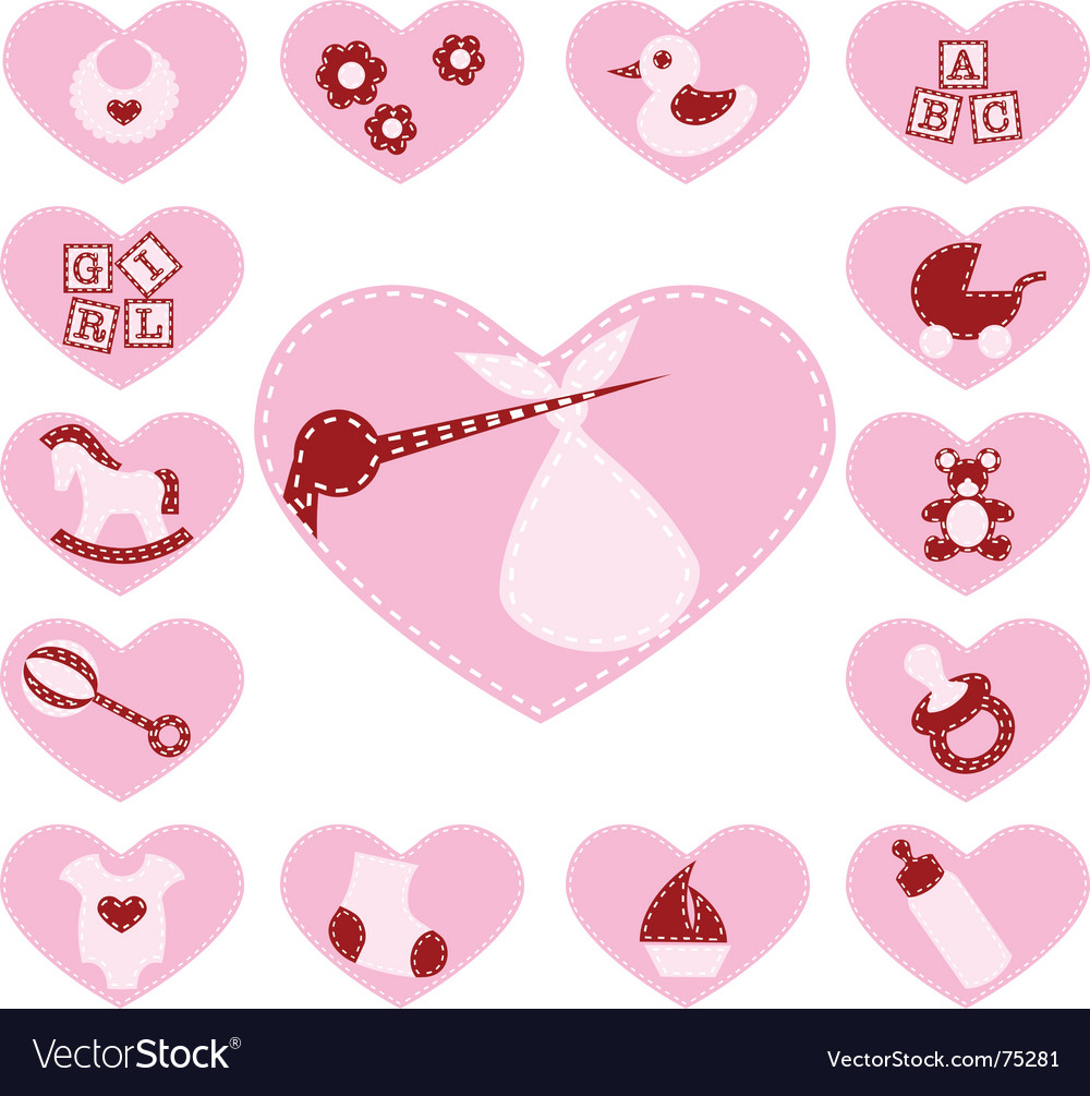 Baby girl buttons vector