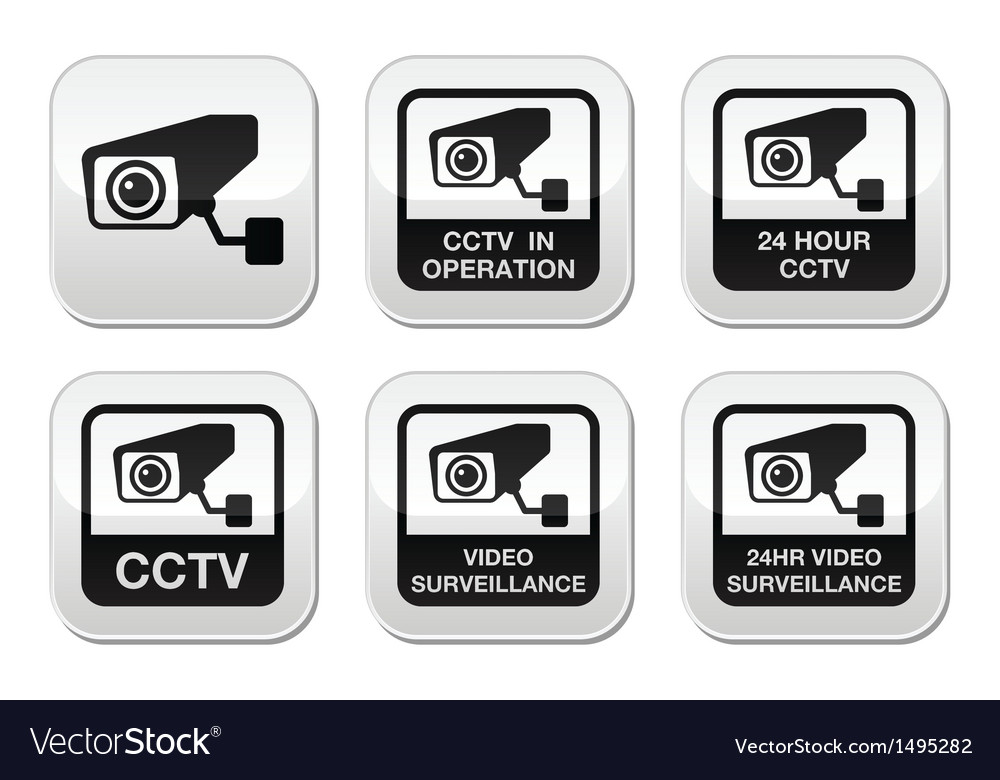Cctv camera video surveillance buttons set vector