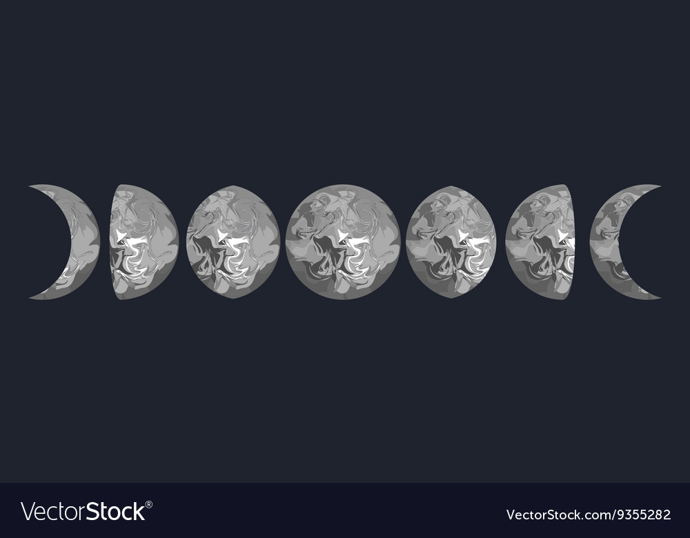 Moon phases grey marbled vector