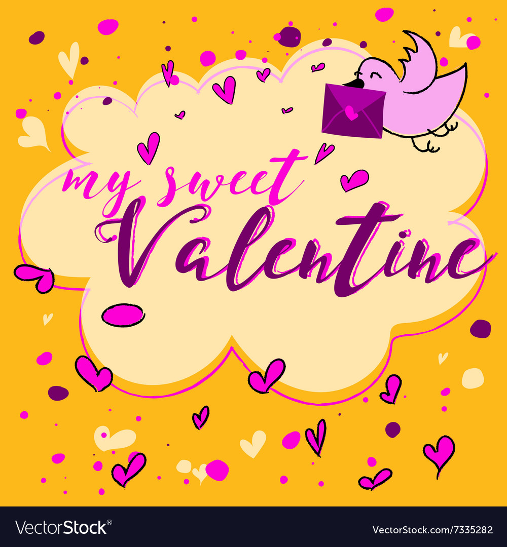 Valentines day greeting card lettering vector