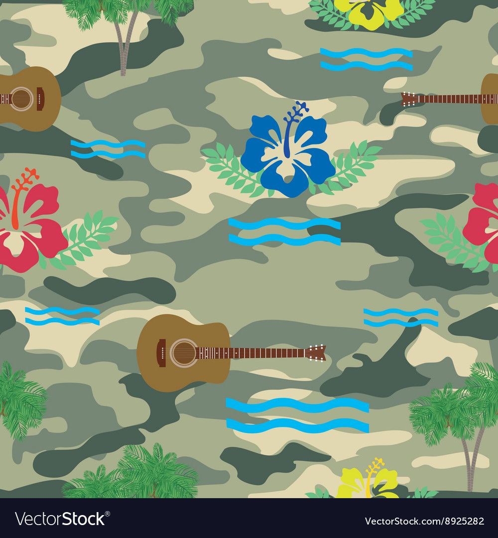 Waves hibiscus guitars and palm trees pattern on vector