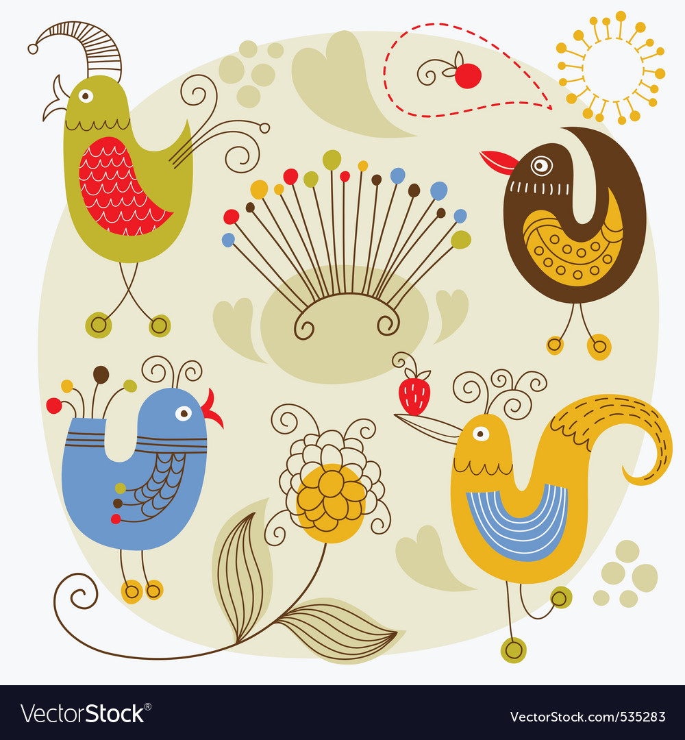 Cartoon cute birds vector
