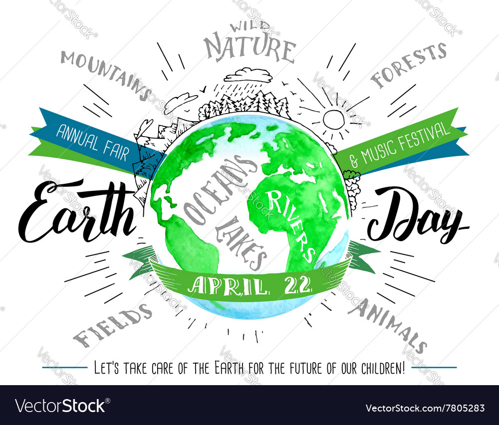 Earth day calligraphy and watercolor flyer vector