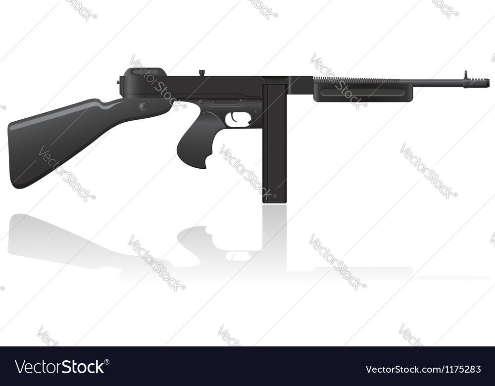 Gangster gun thompson 02 vector