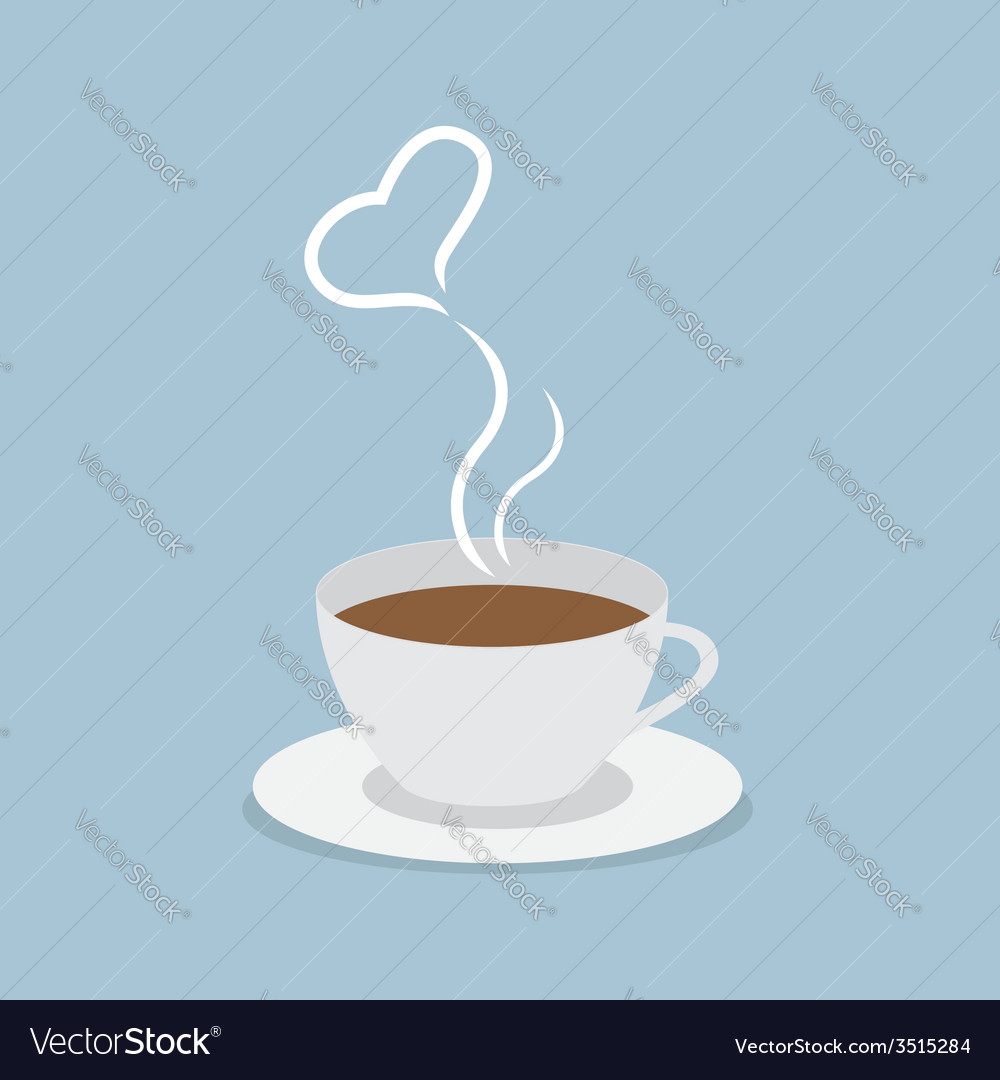 Coffee cup with heart vector