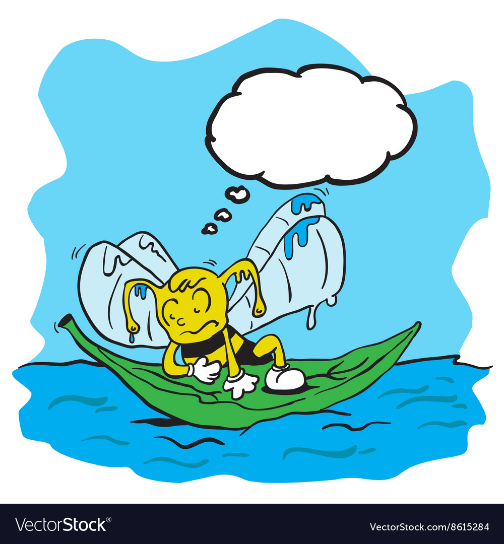 Drowning bee with thought bubble vector