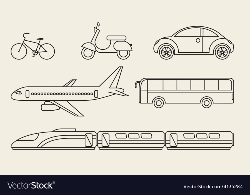 Line graphics set of different personal and public vector