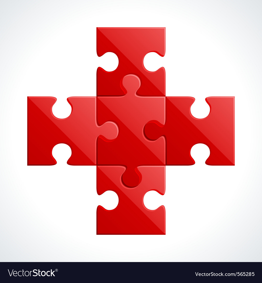 Red puzzle vector
