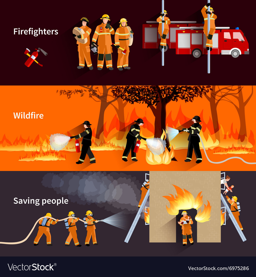Horizontal firefighter people banners set vector