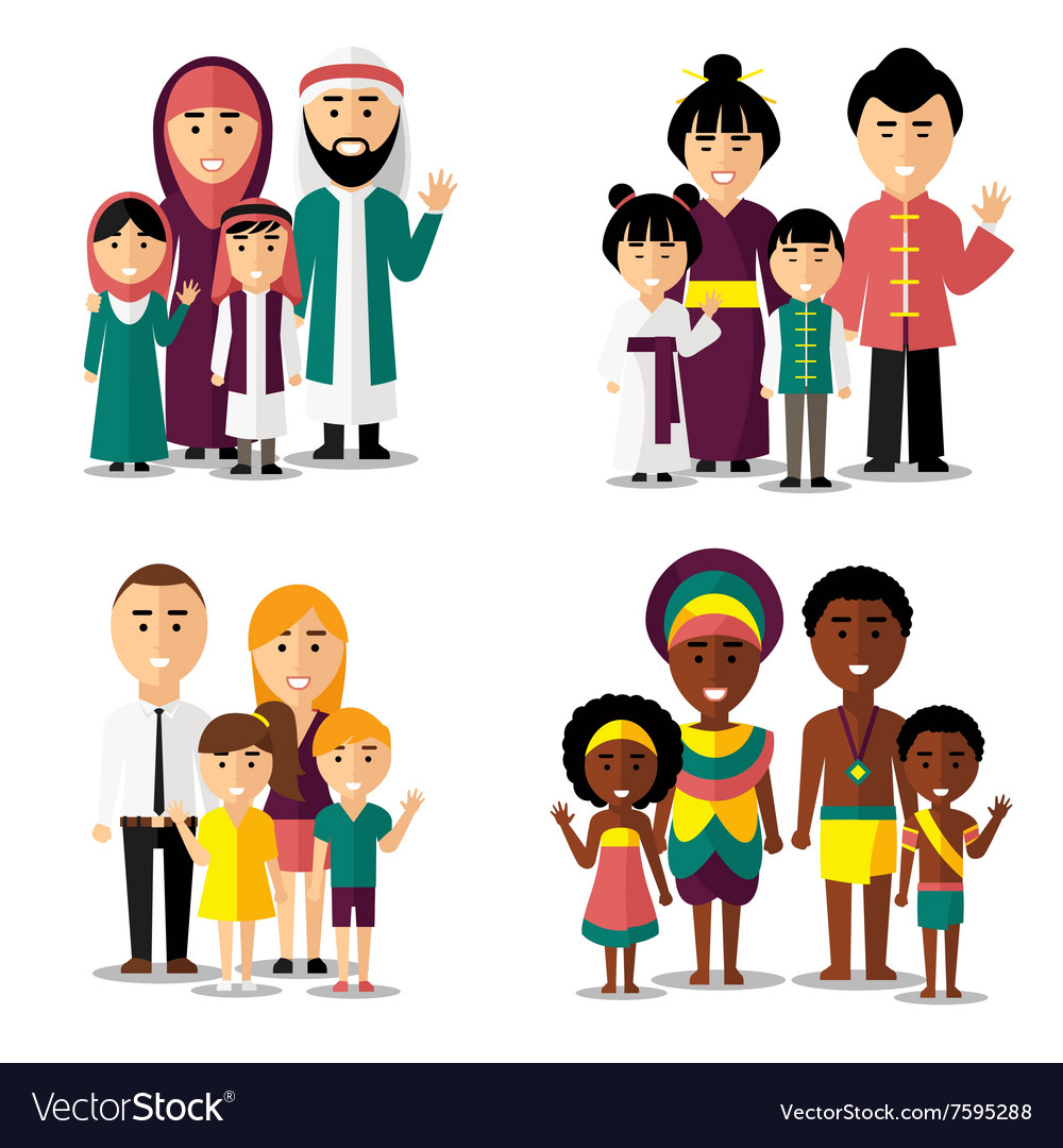 African asian arab and european families vector