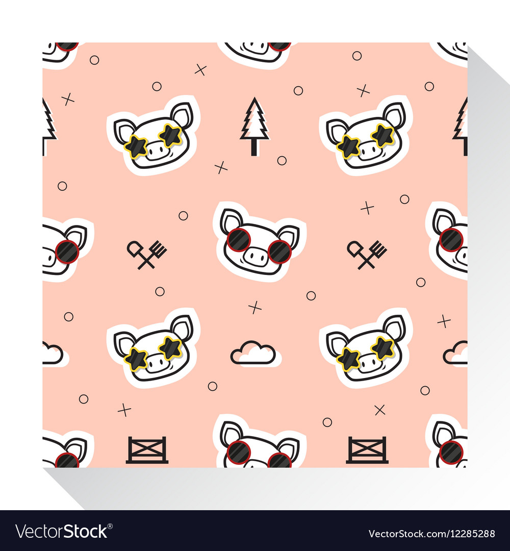 Animal seamless pattern collection with piggy 1 vector