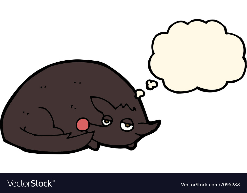 Cartoon curled up dog with thought bubble vector