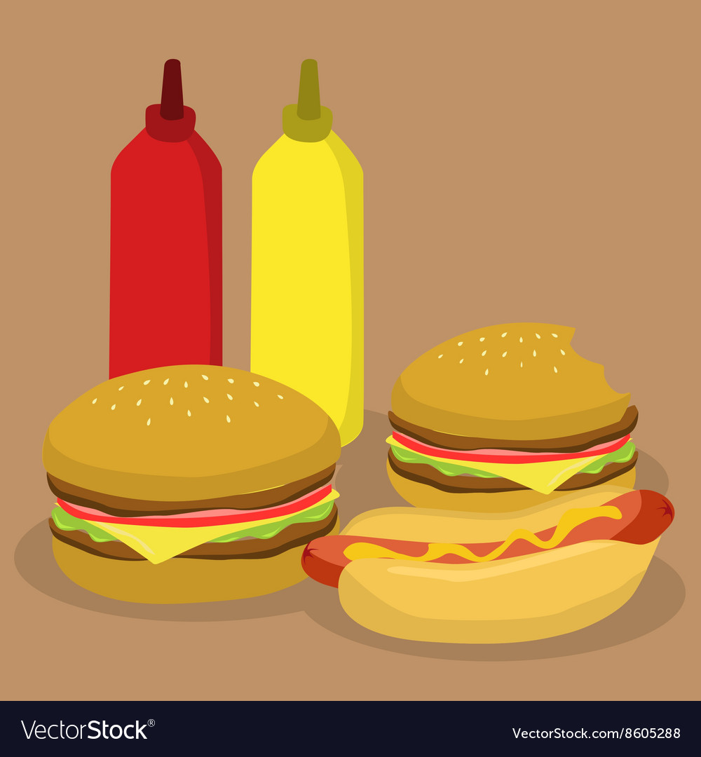 Fast food burger and hotdog vector