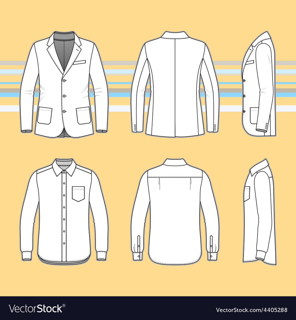 Simple outline drawing of a long sleeves shirt and vector