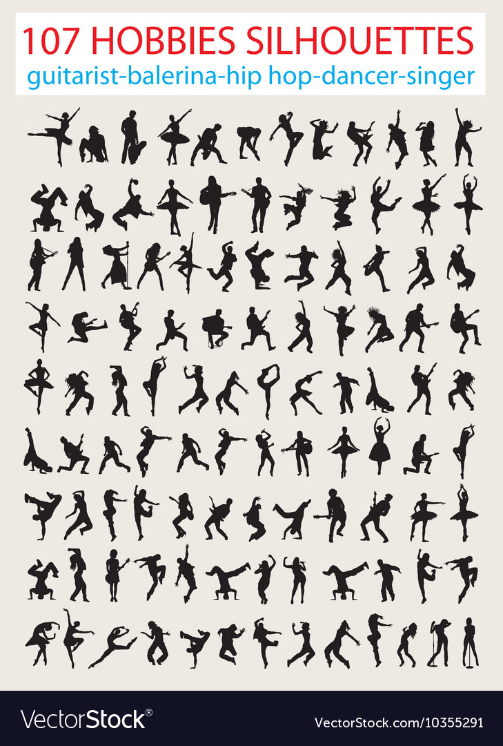 Entertainment activity silhouettes vector