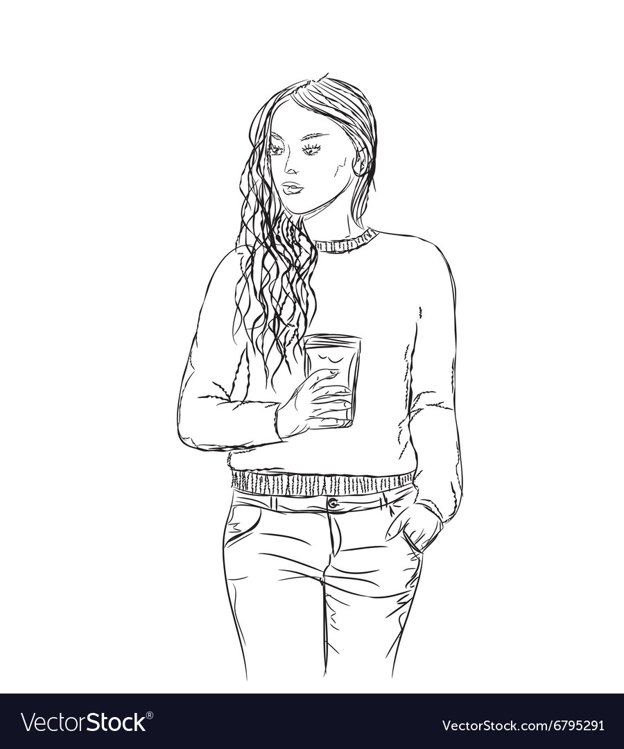 Hand drawn girl vector