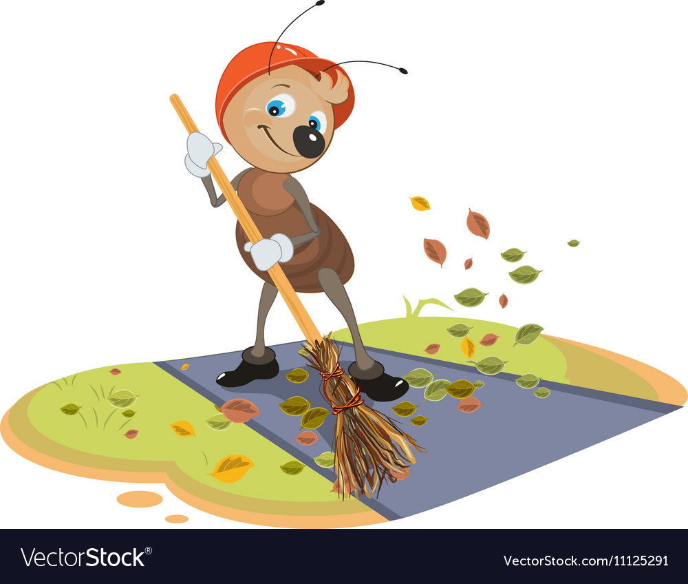 Janitor ant sweeps broom fallen leaves from vector