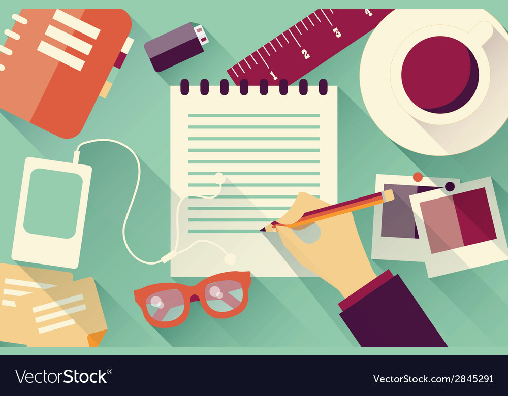 Writing into notebook background vector