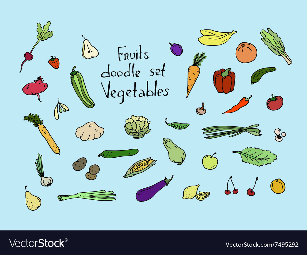 Colored fruits and vegetables sketch set vector
