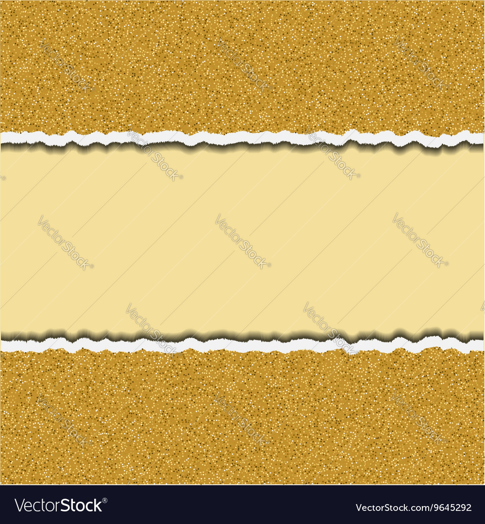 Gold glittering torn paper pieces ripped paper vector