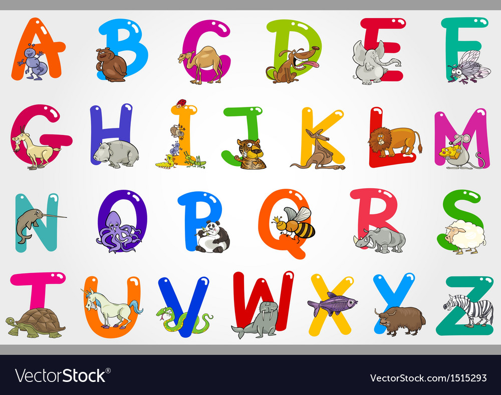 Cartoon alphabet with animals vector