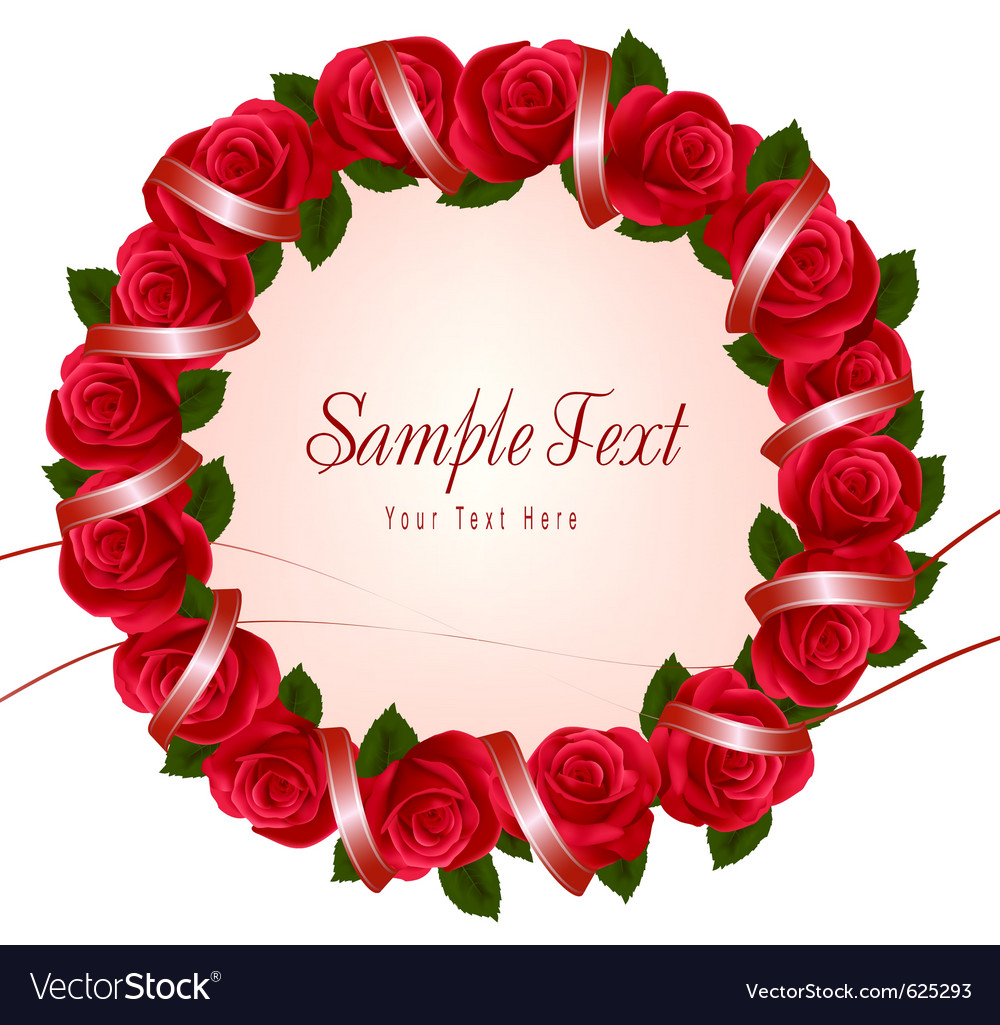 Wreath of red roses vector