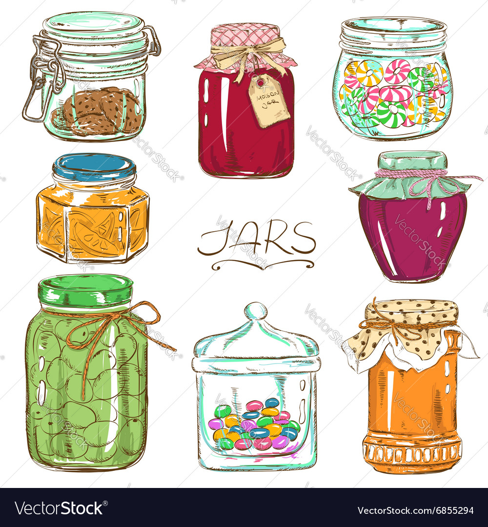 Colorful set of isolated mason jars vector