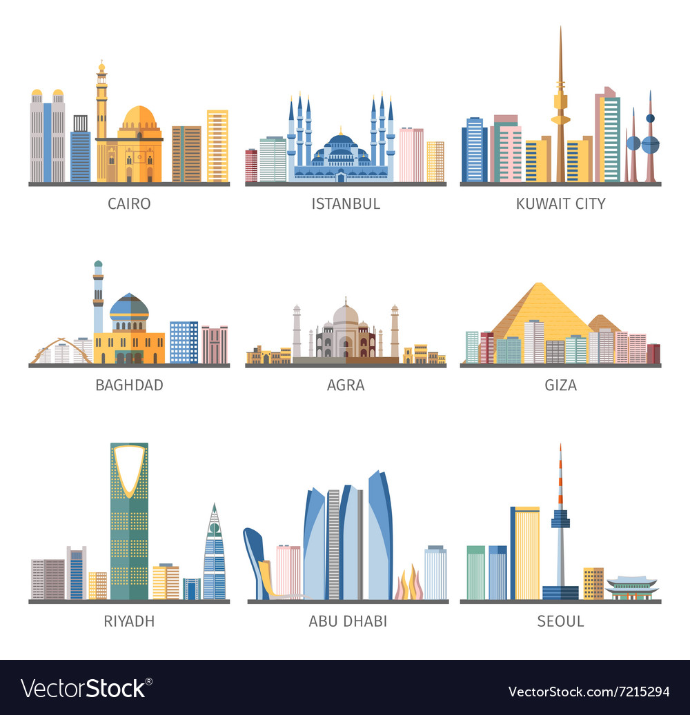 Eastern cityscapes landmarks flat icons collection vector